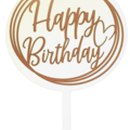Acrylic Round Cake Topper - white with your choice of vinyl wording