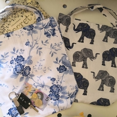 Set of 2 Eco friendly Shopping/Library Tote Bags Blue Roses/Elephants