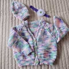SIZE 1-2 years - knitted cardigan  with matching headband and beanie