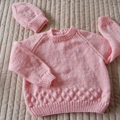 SIZE 3 -4: Hand knitted jumper  with matching beanie: washable, warm,