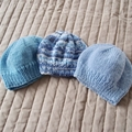 *Special * 3 beanies: (Newborn - 3 mths): Washable, boy
