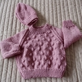 SIZE 0-6mths - Hand knitted jumper with matching beanie. washable, warm