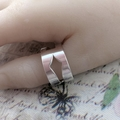 Geometric Sterling silver Thumb Ring Band. Upcycled from Vintage Fork.