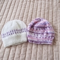 *Special * 2 beanies: (Newborn - 3 mths): Washable, girl