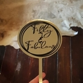 Large Acrylic Cake Topper with vinyl wording - Gold Mirror