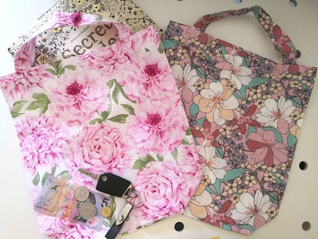 Set of 2 Eco friendly Shopping/Library Tote Bags Pink Roses/Florals