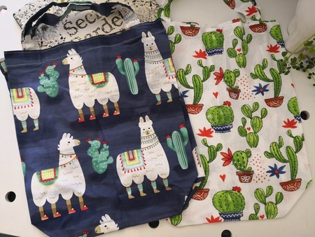 Set of 2 Eco friendly Shopping/Library Tote Bags Blue Llamas/cactus