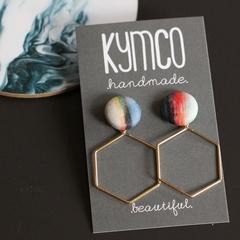 Artistic stripe + hexagon earrings