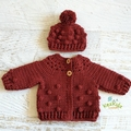 Rust Hand Crocheted Baby Bobble Cardigan Jacket & Beanie 0-2 months