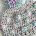 Grey & Multi Coloured Crochet Newborn Bobble Baby Beanie Bonnet Hat with Pompom