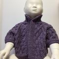 6 - 12 mths, FREE POST , Baby Bolero, Amethyst Purple,  Wool, Hand Knit