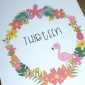 Girls Happy Birthday card - tropical flamingo
