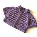 6 - 12 mths, FREE POST , Baby Bolero, Amethyst Purple,  Wool, Hand Knit