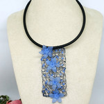 Blue Black Crochet Wire Bib Necklace,Crochet Necklace, Crochet Jewellery, Beaded