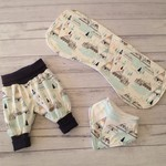 Baby boy set, indian summer fabric, 3 piece set, choose size to 6 months