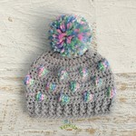 Grey & Multi Coloured Crochet Newborn Bobble Baby Beanie Bonnet Hat with Pompom