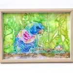 Original ink painting of colourful bird and snails.  Framed and signed.