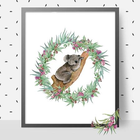 Sleeping Koala Bear Cub DIY Printable Wall Art