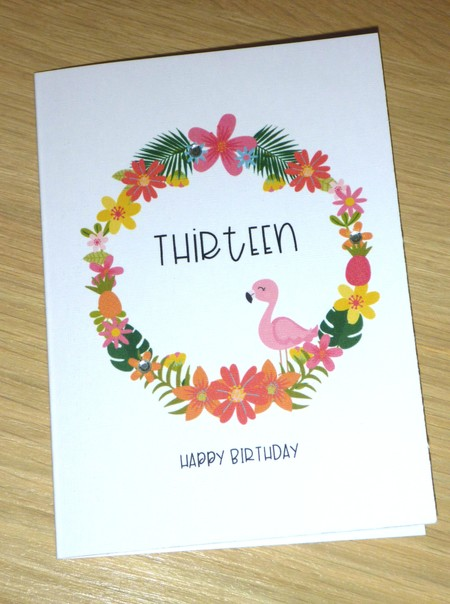 Any age or name Happy Birthday card - tropical flamingo