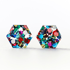 Rainbow Confetti Glitter Hexagon Earrings