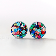 Rainbow Confetti Glitter Round Circle Stud Earrings