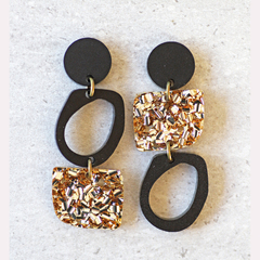 Black & Gold Glitter Geometric Earrings | Statement Dangles | Surgical Steel
