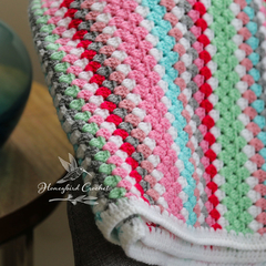 Hand Crochet, Vintage Style, Granny Stripe Baby Blanket/Throw