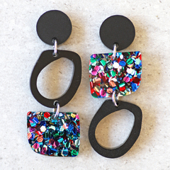 Black & Rainbow Geometric Earrings | Statement Dangles | Surgical Steel