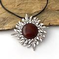 2 Ways: Genuine Dark Red CARNELIAN Gemstone Maya Sun Brooch/Pendant on Leather.
