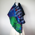 Felted Scarf Wool Silk Nuno felting Wrap Felt Shawl Green Blue