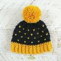 NEWBORN Navy Blue & Mustard Crocheted Baby Beanie with Pompom