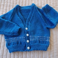 1-2 yrs: Hand knitted Cardigan, washable, unisex