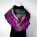 Artistic Felted Scarf Wrap Head Scarves Fushia Purple Green