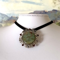2 Ways: Genuine RUBY in ZOISITE Gemstone Brooch/Pendant on Leather Sued Cord.