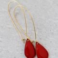 Red Enamel Teardrop Dangle Earrings