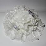 White & silver lace organza hair accessory