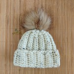 Newborn Chunky Oatmeal Ribbed Crocheted Baby Beanie with Faux Fur Pompom