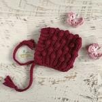 Dark Boysenberry Crochet Newborn Bobble Baby Pixie Bonnet Beanie Hat