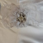 White & Silver Flower Bridal Sash