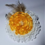 Yellow & white lace hair accessory