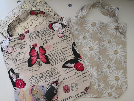 Set of 2 Eco friendly Shopping/Library Tote Bags Butterfly/Daisy