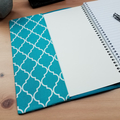 Geometric Teal A5 Notebook Cover with Elastic Closure