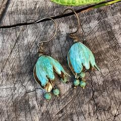Verdigris Bell Flower Earrings - czech crystals