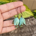 Verdigris Bell Flower Earrings - czech crystals