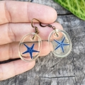 Blue Ocean droplets - Real Starfish earrings, mermaid jewellery