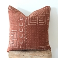 African mud cloth cushion cover rust with cream pattern 50cm x 50cm