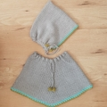 Little Pixie Bonnet. Grey & green.