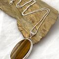 Natural Chatoyant TIGER'S EYE Gemstone Sterling Silver Pendant.