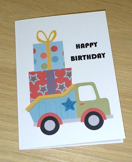 Kids Birthday card - dump truck