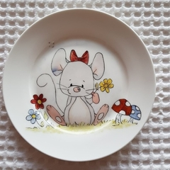 Hand painted bone china Mouse plate